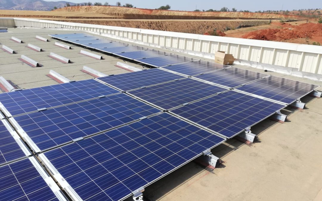 Photovoltaic roof of a solar panel factory in Morocco