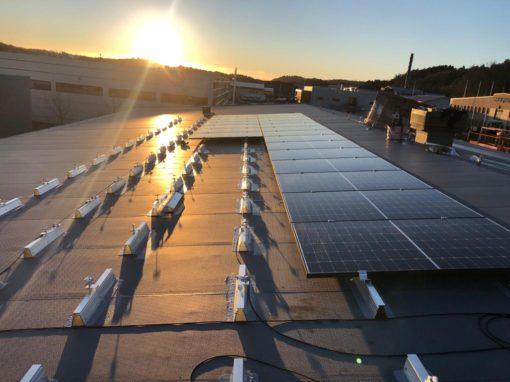Panneaux solaires sur toit terrasse