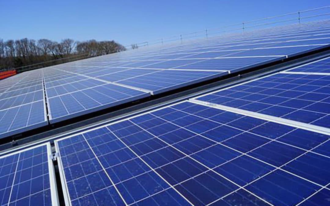 Solar power plant on the roof of a farm