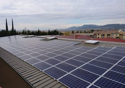 Photovoltaic roof of an organic dried fruit processing plant