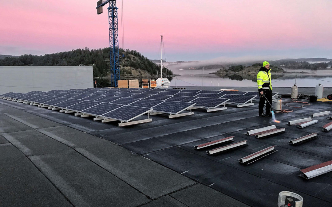A Swedish shipyard is fitted with photovoltaic solar panels