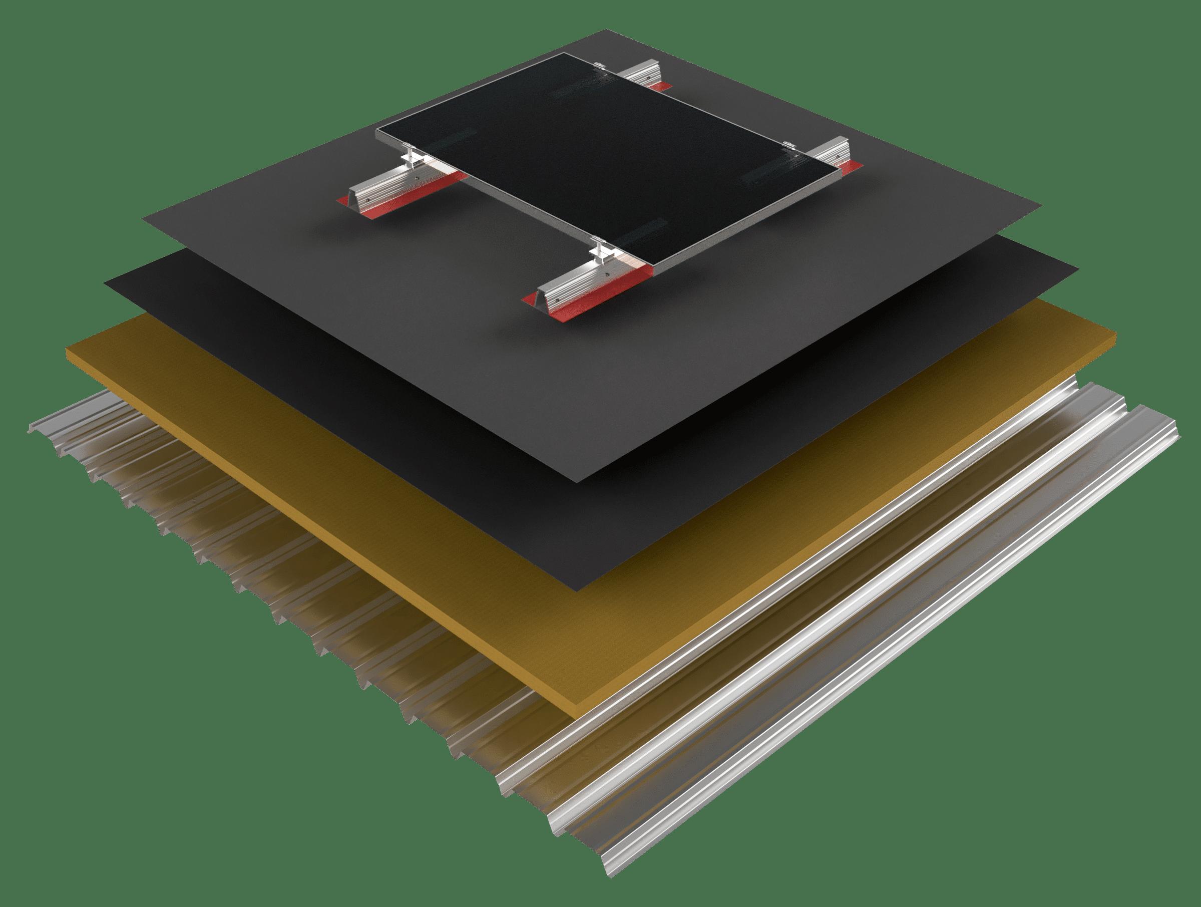 Photovoltaic-mounting-system-bitumen-flat-roof